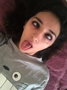 Girlfriend taking ahegao selfie with cute little tongue