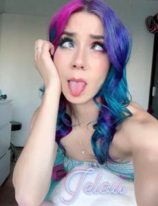 Colourful hair ahegao face